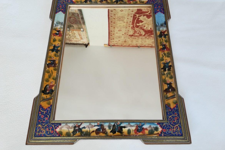 Cadre Miroir marqueterie peinture -coins doubles - Galerie Shirazi - Pau 3