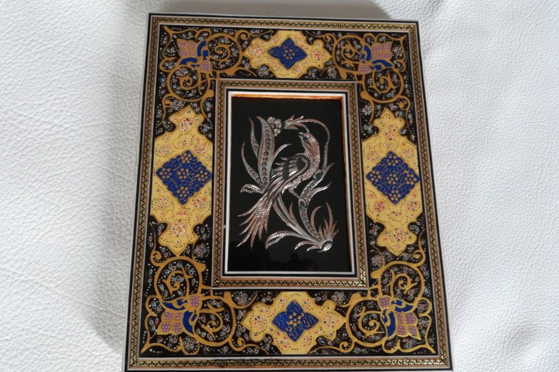 Cadre marqueterie peinte-image cuivre-Galerie Shirazi-Pau-J12