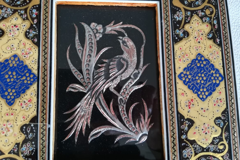 Cadre marqueterie peinte-image cuivre-Galerie Shirazi-Pau-J12a