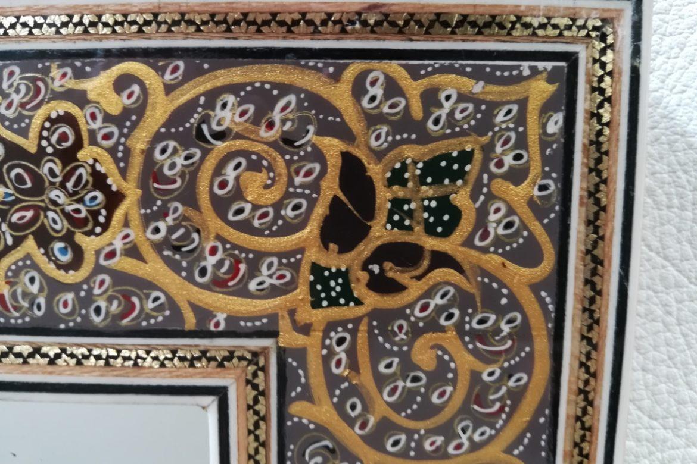 Cadre miroir-marqueterie peinte-Galerie Shirazi-Pau-J9b