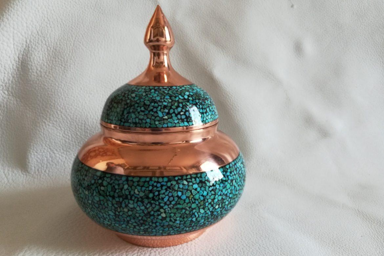 Bonbonnière cuivre et turquoise_Galerie Shirazi_Pau_C16S