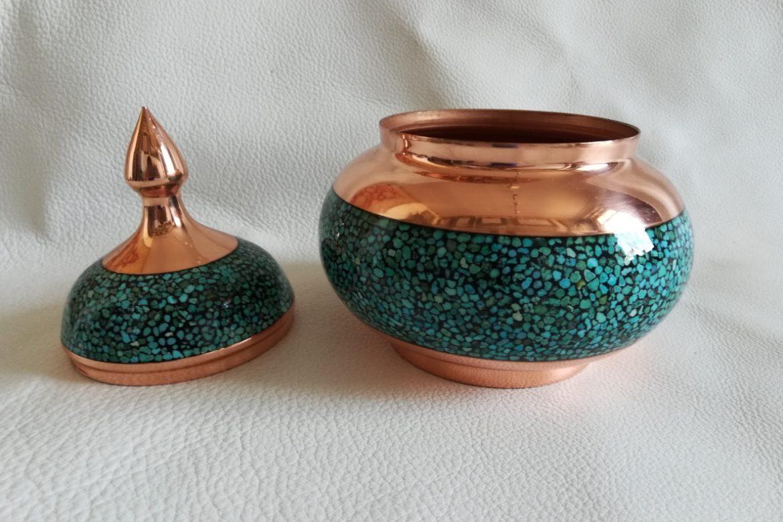 Bonbonnière cuivre et turquoise_Galerie Shirazi_Pau_C16S.a