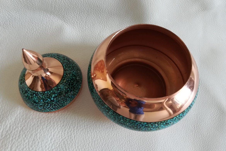 Bonbonnière cuivre et turquoise_Galerie Shirazi_Pau_C16S.b