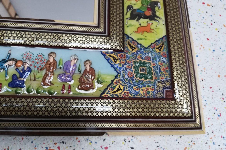 Cadre miroir marqueterie Miniatures_Galerie Shirazi_Pau_A24S-1