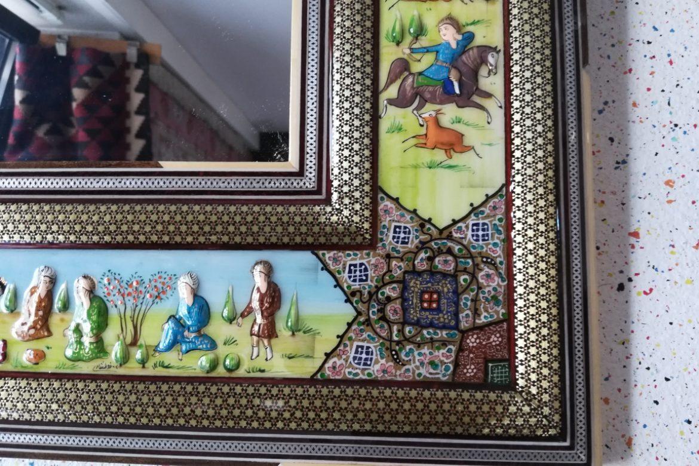 Cadre miroir marqueterie Miniatures_Galerie Shirazi_Pau_A30SA-1