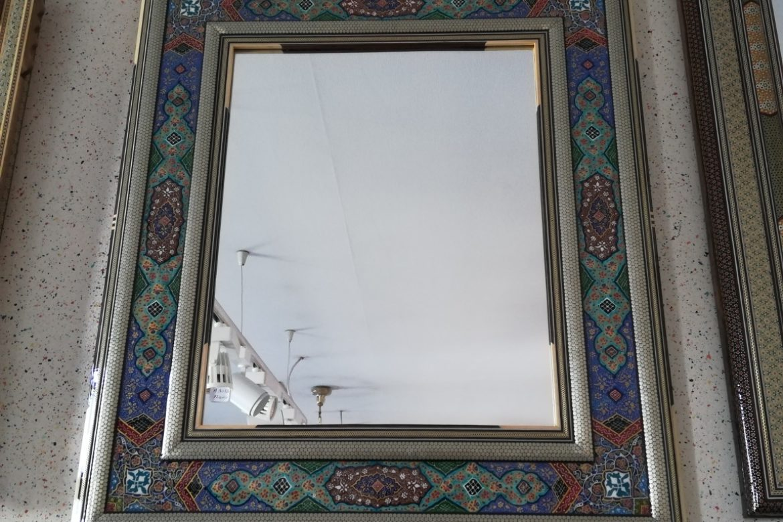 Cadre miroir marqueterie peint_Galerie Shirazi_Pau_A30SB