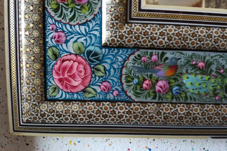 Cadre miroir marqueterie peint_Galerie Shirazi_Pau_A34SD-1