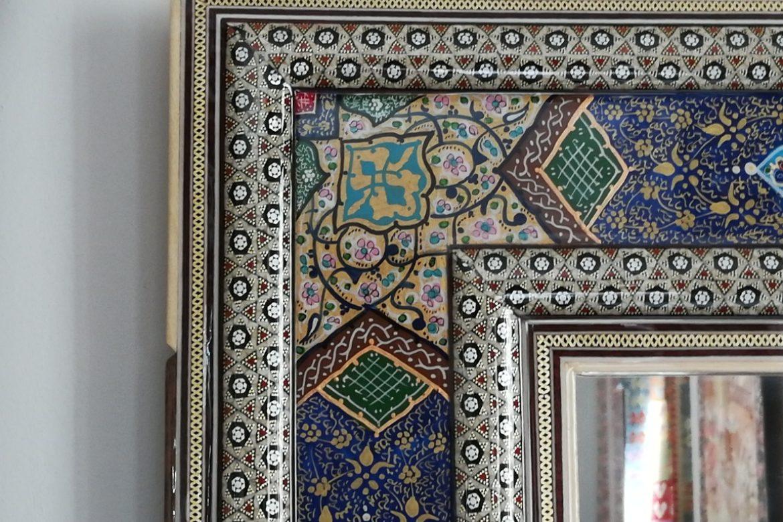 Cadre miroir marqueterie peinte _Galerie Shirazi_Pau_A34SA-1