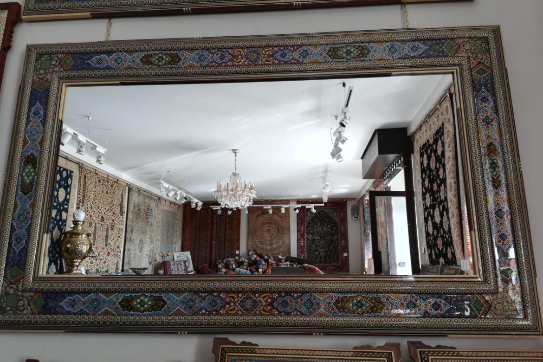 Cadre miroir marqueterie peinte _Galerie Shirazi_Pau_A34SA