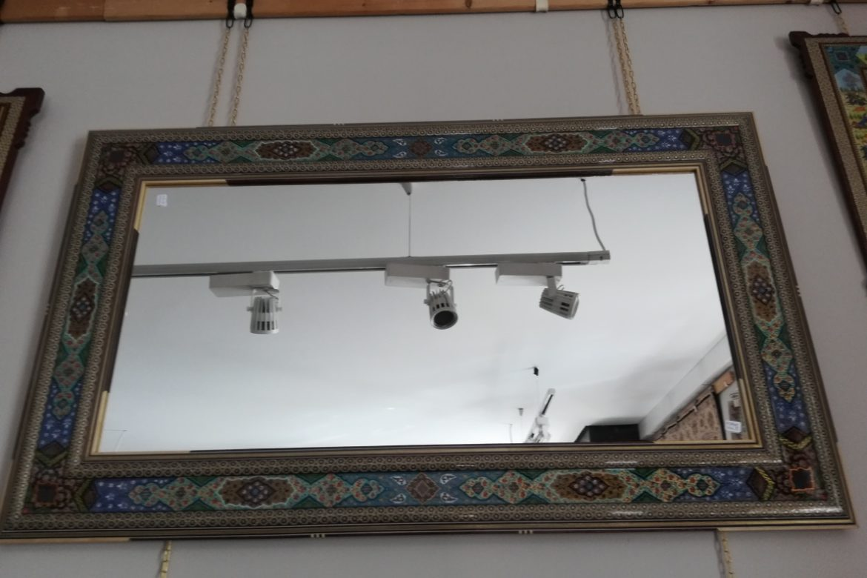 Cadre miroir marqueterie peinte _Galerie Shirazi_Pau_A34SB