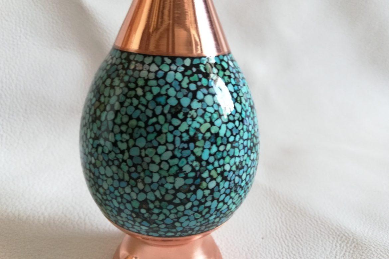 Vase moyen cuivre et turquoise_Galerie Shirazi_Pau_C6SB.a
